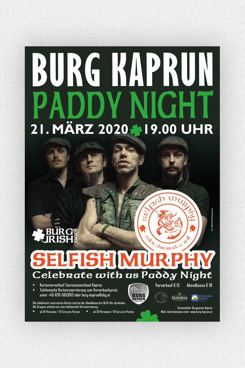 Burg Kaprun - Paddy Night Plakat 2020
