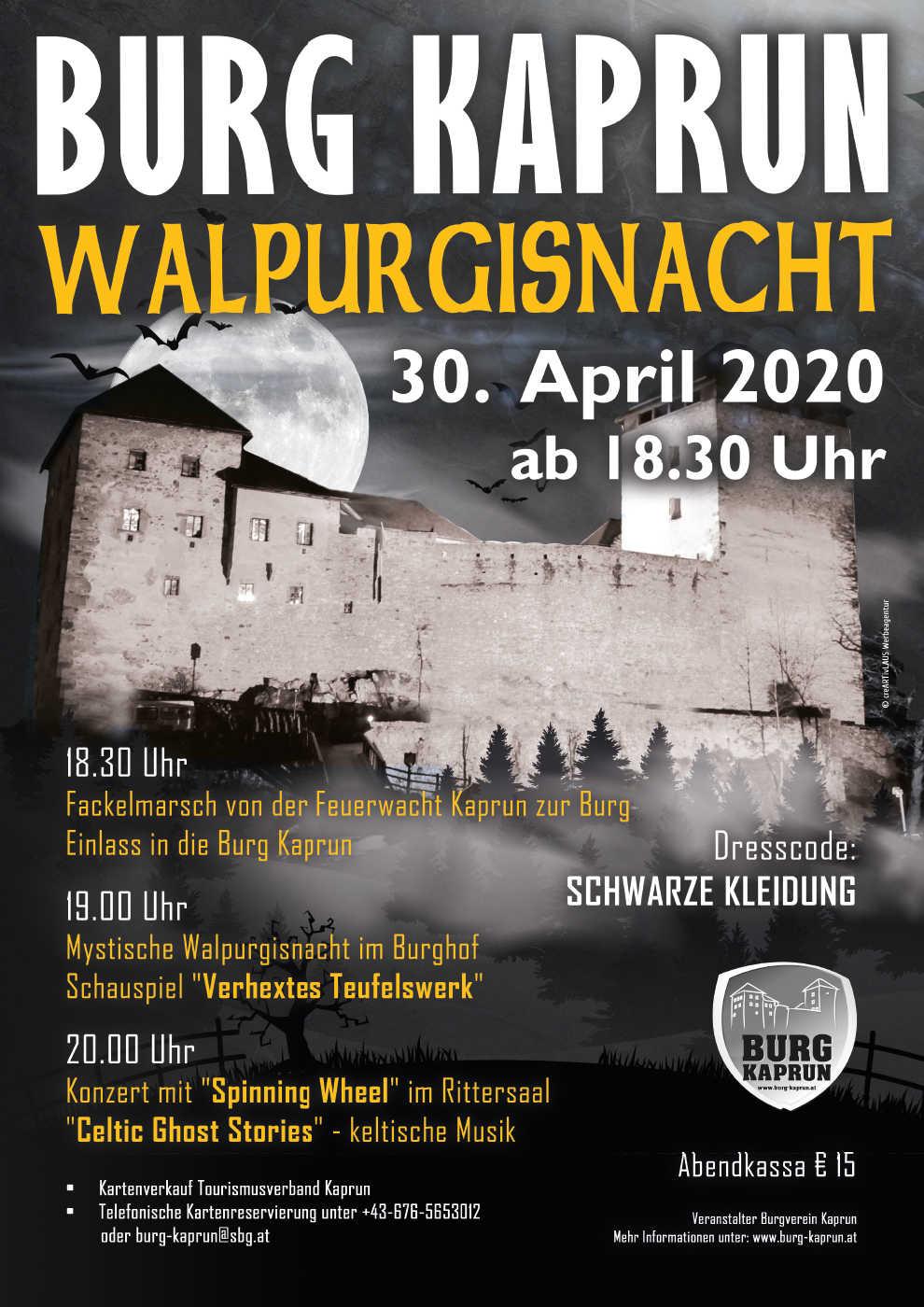 Burg Kaprun - Walpurgisnacht Plakat 2020
