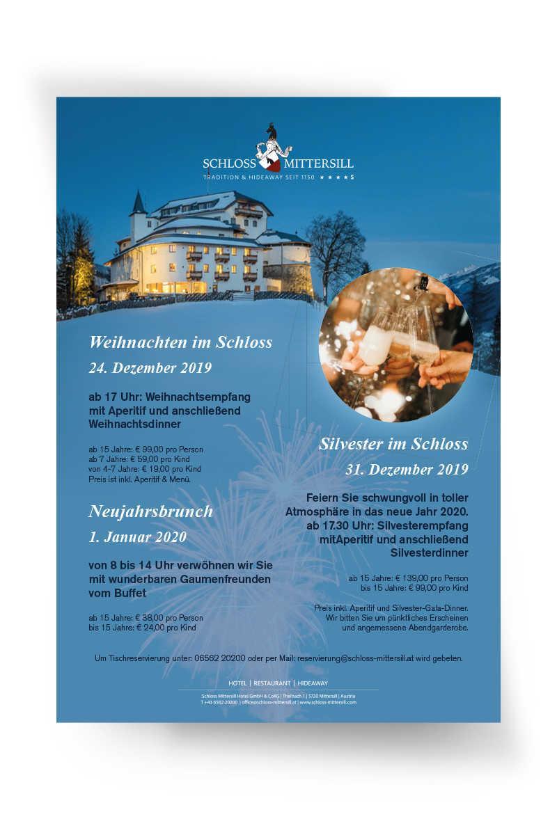Schloss Mittersill - Weihnachten & Silvester Plakat